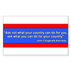 JFK Inaugural Quote Sticker (Rectangle 10 pk)