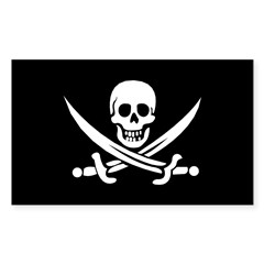 Old Jolly Roger Pirate Flag Sticker (Rectangle 10 pk)