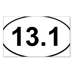 Half Marathon 13.1 White Oval Sticker (Rectangle 10 pk)