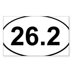 Marathon 26.2 White Oval Sticker (Rectangle 10 pk)