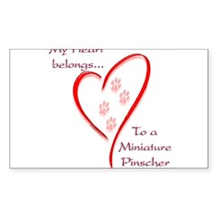 Min Pin Heart Belongs Rectangle Sticker (Rectangle 10 pk)