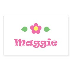 "Pink Daisy - ""Maggie"" Rectangle Sticker (Rectangle 10 pk)"