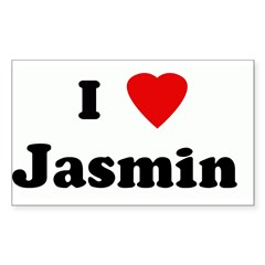 I Love Jasmin Sticker (Rectangle 10 pk)