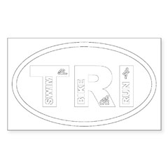 Triathlon Oval Sticker (Rectangle 10 pk)