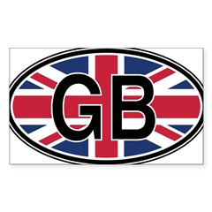 Great Britain Euro Oval Sticker (Rectangle 10 pk)