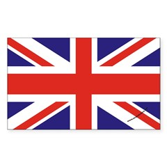 British Flag Euro Oval Sticker (Rectangle 10 pk)