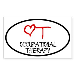 Occupational Therapy Heart Oval Sticker (Rectangle 10 pk)