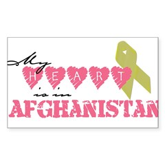 Yellow ribbon/My heart is in Sticker (Rectangular Sticker (Rectangle 10 pk)