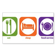 Eat Sleep Food Service Rectangle Sticker (Rectangle 10 pk)