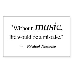 Without music, life is a mist Sticker (Rectangular Sticker (Rectangle 10 pk)