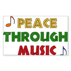 Peace Through Music Rectangle Sticker (Rectangle 10 pk)