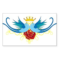 Swallows with Rose Rectangle Sticker (Rectangle 10 pk)