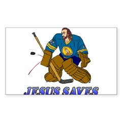 Jesus Saves (Hockey Goalie) Rectangle Sticker (Rectangle 10 pk)