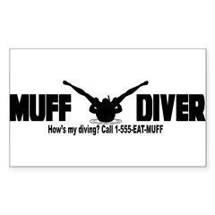Muff Diving Sticker (Rectangle 10 pk)