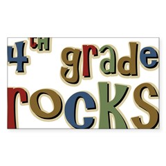 4th Grade Rocks Fourth School Sticker (Rectangular Sticker (Rectangle 10 pk)