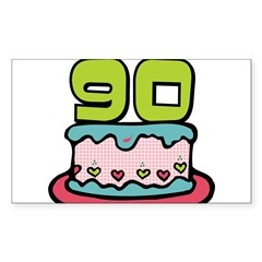 "90th Birthday Cake 3"" Lapel Sticker (48 pk) Sticker (Rectangle 10 pk)"