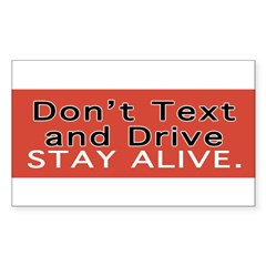 Don't Text and Drive Sticker (Rectangle 10 pk)