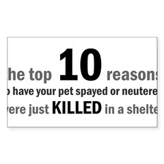 10 Reasons to Spay/Neuter Rectangle Sticker (Rectangle 10 pk)