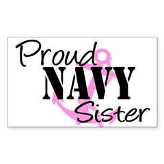 Proud Navy Sister - Pink Anch Sticker (Rectangular Sticker (Rectangle 10 pk)