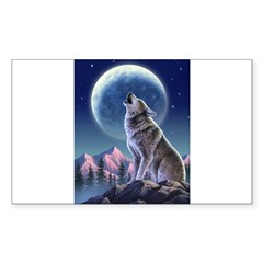 Howling Wolf 1 Rectangle Sticker (Rectangle 10 pk)