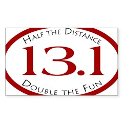 13.1 - Half the Distance Oval Sticker (Rectangle 10 pk)