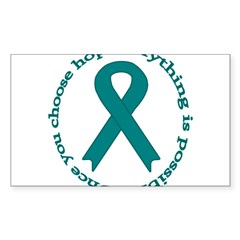 Teal Hope Oval Sticker (Rectangle 10 pk)