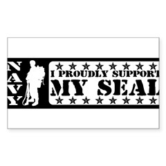 Proudly Support Seal - NAVY Sticker (Rectangle 10 pk)