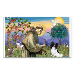 St Francis & Papillon Rectangle Sticker (Rectangle 10 pk)
