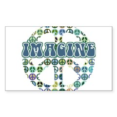 Retro Peace Sign Imagine Rectangle Sticker (Rectangle 10 pk)
