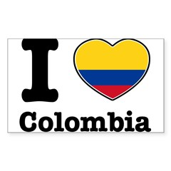 I love Colombia Rectangle Sticker (Rectangle 10 pk)