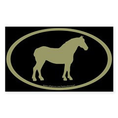 Draft Horse Oval (sage/blk) Oval Sticker (Rectangle 10 pk)