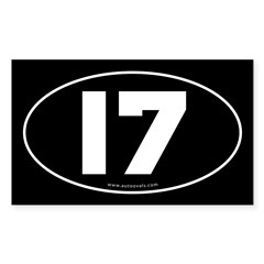 #17 Euro Bumper Oval Sticker -Black Sticker (Rectangle 10 pk)