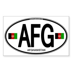 Afghanistan Euro Oval Sticker (Rectangle 10 pk)