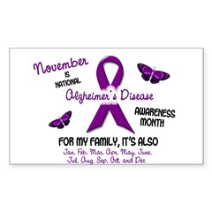 Alzheimers Awareness Month 2.2 Oval Sticker (Rectangle 10 pk)