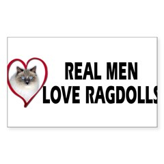 Real Men Love Ragdolls Sticker (Rectangle 10 pk)