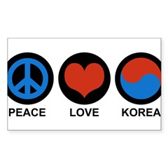 Peace Love Korea Rectangle Sticker (Rectangle 10 pk)