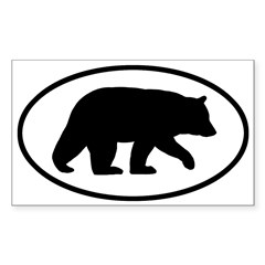 Black Bear Oval Sticker (Rectangle 10 pk)