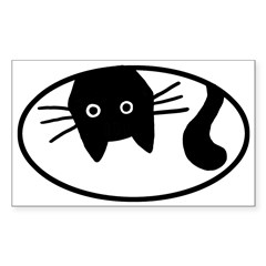 Upside-Down Cat Oval Sticker (Rectangle 10 pk)