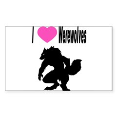 I *heart* Werewolve Sticker (Rectangle 10 pk)