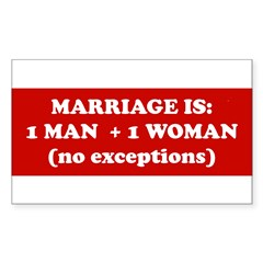 Marriage is 1 Man + 1 Woman Sticker (Rectangle 10 pk)