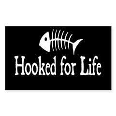 Hooked for Life Oval Sticker (Rectangle 10 pk)