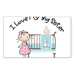little brother big sister matching shirt Sticker (Rectangle 10 pk)