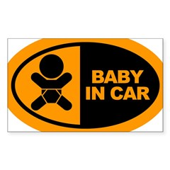 Baby in Car Safety Sticker for Car Sticker (Rectangle 10 pk)