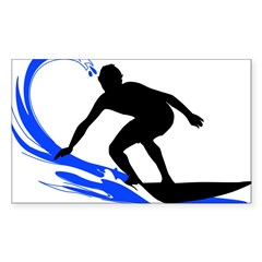 Wave Surfing Oval Sticker (Rectangle 10 pk)