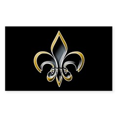 Fleur de Lis on BLK Oval Sticker (Rectangle 10 pk)