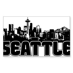 Seattle Skyline Sticker (Rectangle 10 pk)