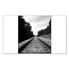 .railroad tracks. b&w Sticker (Rectangle 10 pk)