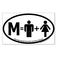 Marriage Equals One Man and One Woman Oval Sticker (Rectangle 10 pk)