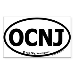 "Ocean City, New Jersey ""OCNJ"" Oval Sticker (Rectangle 10 pk)"