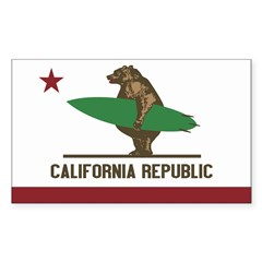 California Surfing Bear Flag Sticker (Rectangle 10 pk)